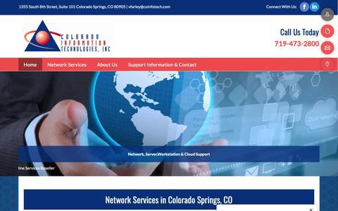 Screenshot of Home Page coinfotech.com - computer assistance | Colorado Springs, CO | Colorado Information Technologies Inc - captured Sept. 28, 2018