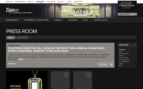 Screenshot of Press Page tappers.com - Press Room | Tapper's Diamonds & Fine Jewelry | West Bloomfield | Troy | Novi - captured Feb. 10, 2016