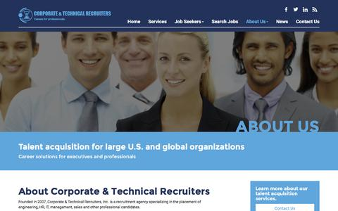 Screenshot of About Page ctrecruiters.com - About Us - Corporate and Technical Recruiters, Inc. - captured Feb. 1, 2016