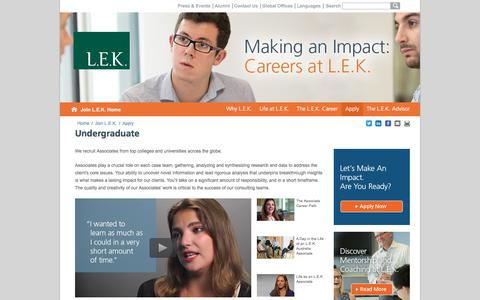 Undergraduate, Associates   L.E.K. Consulting