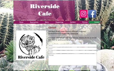 Screenshot of Contact Page riverside-cafe.co.nz - Riverside Café Restaurant | Contact Us | 03 526 7447 - captured June 30, 2018