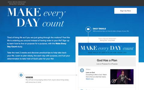 Screenshot of Landing Page joycemeyer.org - Make Every Day Count Study with Joyce Meyer - captured Oct. 23, 2016