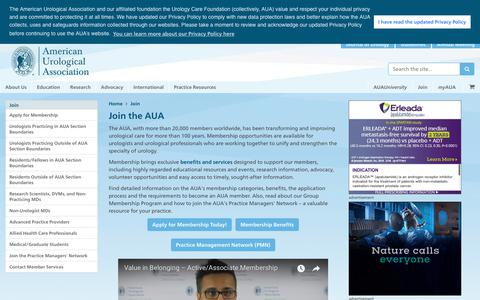 Screenshot of Signup Page auanet.org - American Urological Association - Join the AUA - captured Oct. 3, 2018