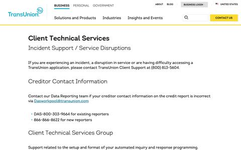 Screenshot of Support Page transunion.com - Client Technical Services | Client Support | TransUnion - captured Oct. 24, 2018