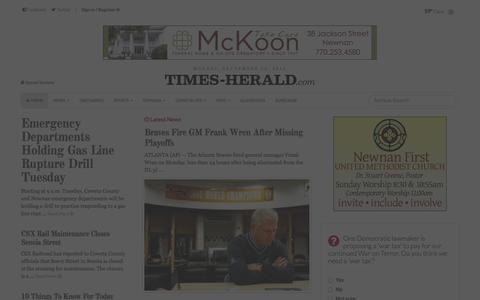 Screenshot of Home Page times-herald.com - The Newnan Times-Herald - captured Sept. 19, 2014