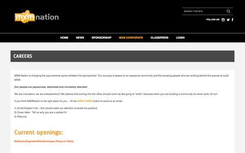 Screenshot of Jobs Page mxmnation.com - Cool Social Commerce Jobs | MXM Nation - captured Oct. 27, 2014