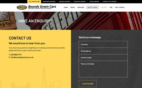 Screenshot of Contact Page boundsgreencars.co.uk - Taxi Bounds Green - Bounds Green Taxis - Bounds Green Cars - Contact - captured Oct. 6, 2018