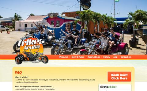 Screenshot of FAQ Page trikes-aruba.com - FAQ   Frequently Asked Questions   Trikes Aruba Island Tours and Rentals - captured Oct. 8, 2014