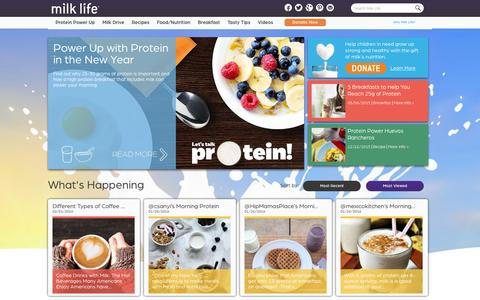 Screenshot of Home Page milklife.com - Healthy Protein Breakfast Ideas | Milk Recipes | Milk Life - captured Feb. 2, 2016