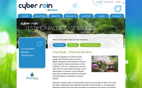 Screenshot of Testimonials Page cyber-rain.com - Cyber Rain Testimonials, Cyber Rain Case Studies,  Remote Irrigation Controllers,  Smart Irrigation - captured Oct. 31, 2019