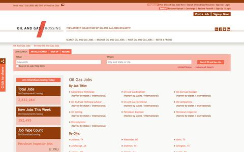 Screenshot of Jobs Page oilandgascrossing.com - Oil Gas Jobs, Browse Jobs in Oil Gas By Job Type, City, State in United States | OilandGasCrossing.com - captured Oct. 19, 2018