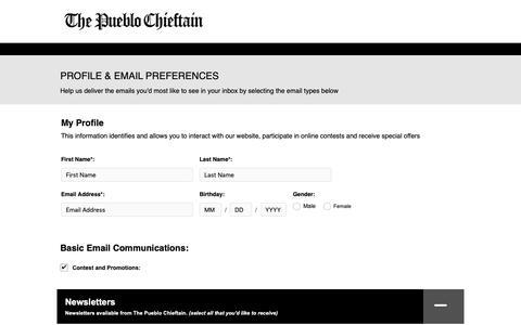Screenshot of Signup Page chieftain.com - The Pueblo Chieftain - captured Nov. 23, 2018