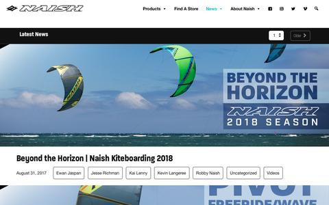 Screenshot of Press Page naishkites.com - Latest News - Naish Kiteboarding | Kites, Kiteboards, Soft Tech and more - captured Aug. 31, 2017