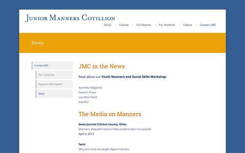 Screenshot of Press Page polite.com - Junior Manners Cotillion |        News - captured Oct. 6, 2014