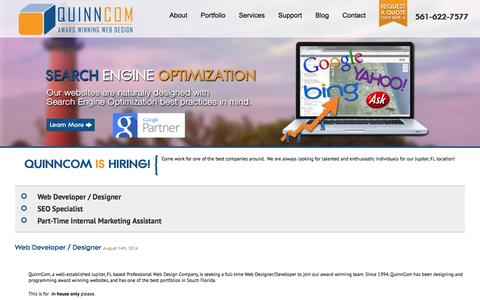 Screenshot of Jobs Page quinncom.net - Jobs At QuinnCom | Web Developer | Sales Executive - captured Oct. 3, 2014