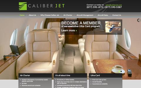 Screenshot of Home Page caliberjet.com - Caliber Jet - captured Oct. 1, 2014