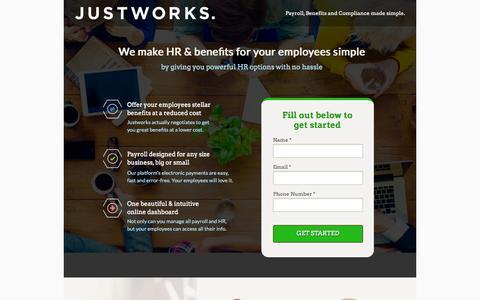 Screenshot of Landing Page justworks.com - Justworks - HR - captured Oct. 27, 2014