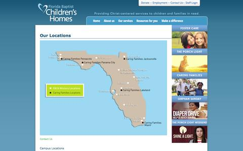 Screenshot of Locations Page fbchomes.org - Florida Baptist Children's Homes  Locations » Florida Baptist Children's Homes - captured Sept. 22, 2014