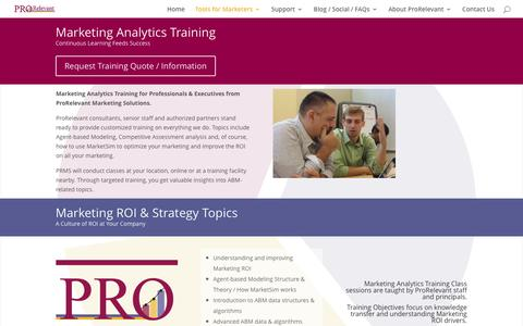 Marketing Analytics Training for Professionals & Executives from ProRelevant Marketing Solutions