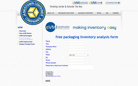 Screenshot of Signup Page jamestowncontainer.com - Contract Packaging Fulfillment & Custom Shipping Box Distribution - captured Feb. 11, 2016