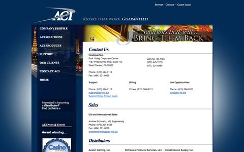 Screenshot of Contact Page aci-inc.biz - Welcome to Automated Currency Instruments - captured Oct. 4, 2014