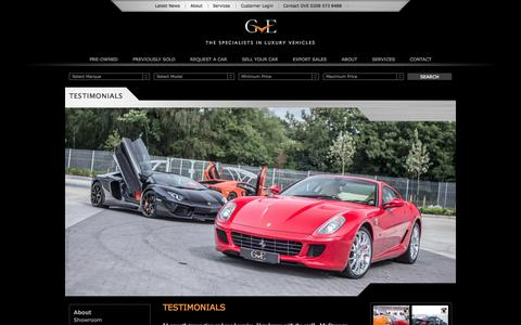 Screenshot of Testimonials Page gvelondon.com - Testimonials - GVE Luxury Vehicles London - captured Oct. 1, 2014