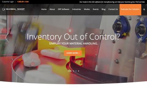 Screenshot of Home Page globalshopsolutions.com - Global Shop Solutions  |  ERP Software for Manufacturers - captured Jan. 30, 2016