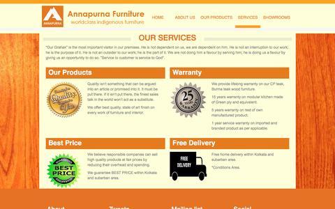 Screenshot of Services Page annapurnafurniture.com - Designer Furniture Manufacturers in Kolkata - captured Feb. 6, 2016