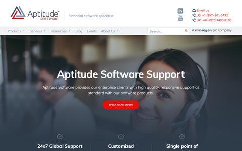 Screenshot of Support Page aptitudesoftware.com - Support - Aptitude Software - captured March 6, 2019