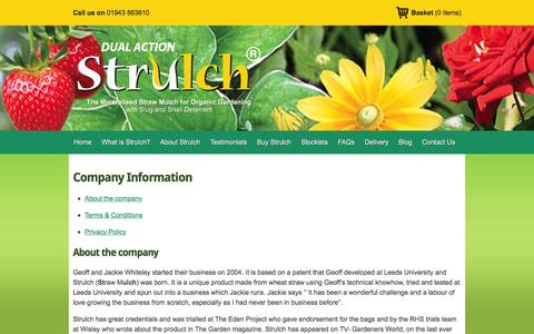 Screenshot of Privacy Page Terms Page strulch.co.uk - Company Information   Strulch - captured Feb. 25, 2016