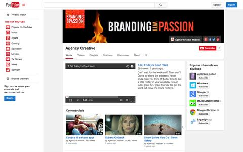 Screenshot of YouTube Page youtube.com - Agency Creative  - YouTube - captured Oct. 23, 2014