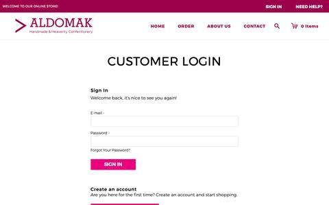 Screenshot of Login Page aldomak.co.uk - Customer Login - captured Oct. 3, 2018