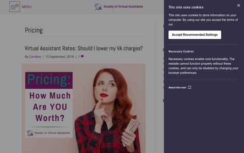Screenshot of Pricing Page societyofvirtualassistants.co.uk - Pricing Archives - Society of Virtual Assistants - captured Sept. 21, 2018