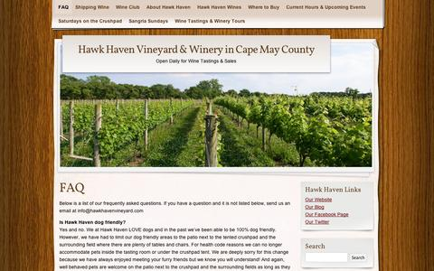 Screenshot of FAQ Page wordpress.com - FAQ | Hawk Haven Vineyard & Winery in Cape May County - captured Sept. 12, 2014