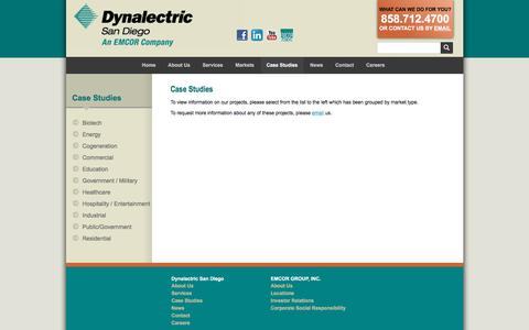 Screenshot of Case Studies Page dyna-sd.com - Dynalectric San Diego :: Case Studies - captured Oct. 13, 2017