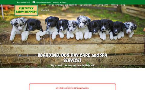 Screenshot of Home Page clifwyck.com - Pet Boarding South Jersey - Dog Kennels NJ - captured Nov. 24, 2018