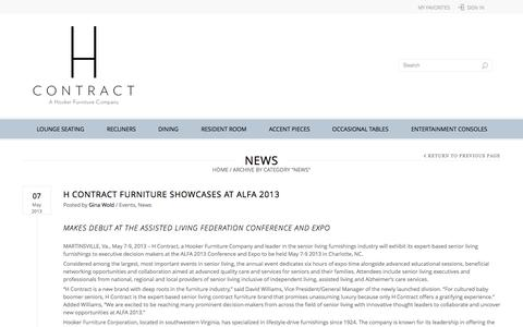 Screenshot of Press Page hcontractfurniture.com - News | H Contract Furniture - captured Sept. 26, 2014