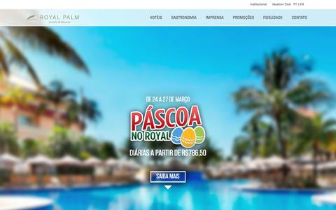 Screenshot of Home Page royalpalm.com.br - Royal Palm Hotels & Resorts | Resort em Campinas | Interior de SP - captured Feb. 20, 2016