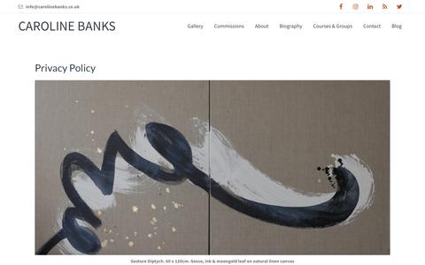 Screenshot of Privacy Page carolinebanks.co.uk - Caroline Banks Art Privacy Policy - captured Nov. 4, 2018