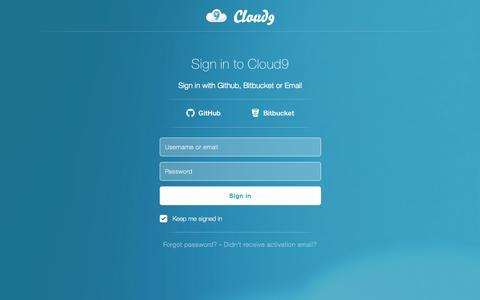 Screenshot of Login Page c9.io - Cloud9 | Login - captured Oct. 28, 2014