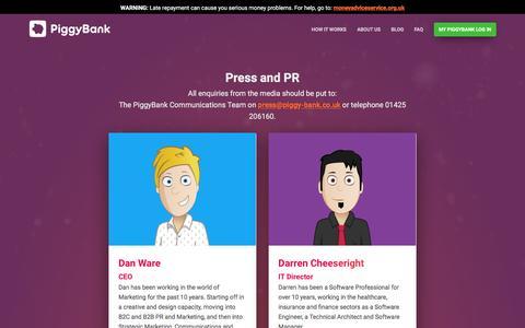 Screenshot of Press Page piggy-bank.co.uk - Press Contacts   Piggybank Short Term, Payday and Instalment Loans - captured Dec. 31, 2016
