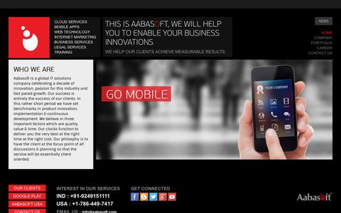 Screenshot of Home Page aabasoft.com - Offshore Software Development Company India - Custom Software Developers - captured Sept. 30, 2014