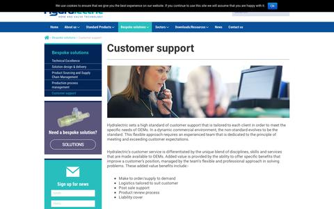 Screenshot of Support Page hydralectric.com - Customer Support | Managing Projects From Concept to Fulfillment - Hydralectric - captured Sept. 20, 2017