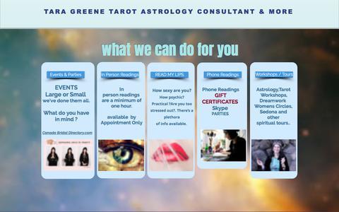 Screenshot of Services Page taratarot.com - Tara Greene Services: Tarot Reader, Psychic, Astrology, Psychic - captured Aug. 12, 2019