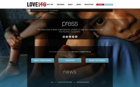 Screenshot of Press Page love146.org - LOVE146   press - captured Sept. 24, 2014