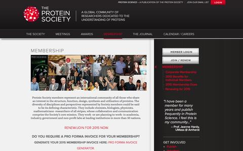 Screenshot of Signup Page proteinsociety.org - The Protein Society: The home for the international protein science community - captured Oct. 9, 2014