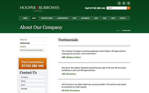 Screenshot of Testimonials Page hblegal.co.uk - Testimonials from Clients of Hooper Burrowes Legal - captured Oct. 29, 2014