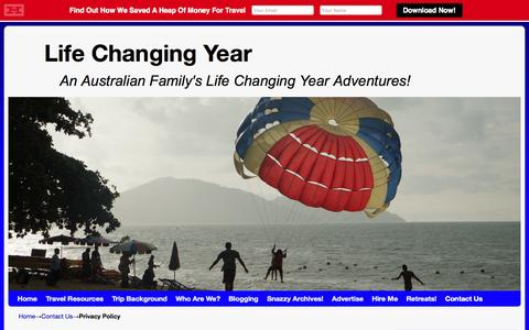 Screenshot of Privacy Page lifechangingyear.com - Privacy Policy - Life Changing Year - captured Nov. 4, 2014