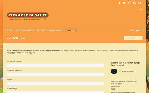 Screenshot of Contact Page pickapeppa.com - CONTACT US   Pickapeppa - captured July 18, 2018