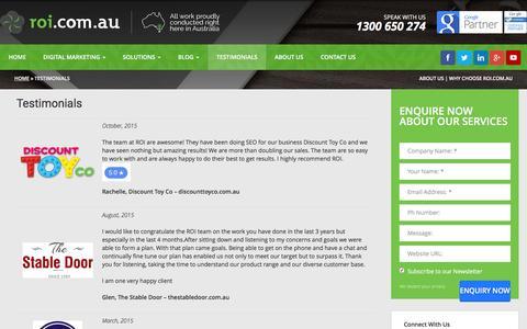 Screenshot of Testimonials Page roi.com.au - Online Marketing, SEO & PPC Testimonials and Reviews - captured Jan. 19, 2016